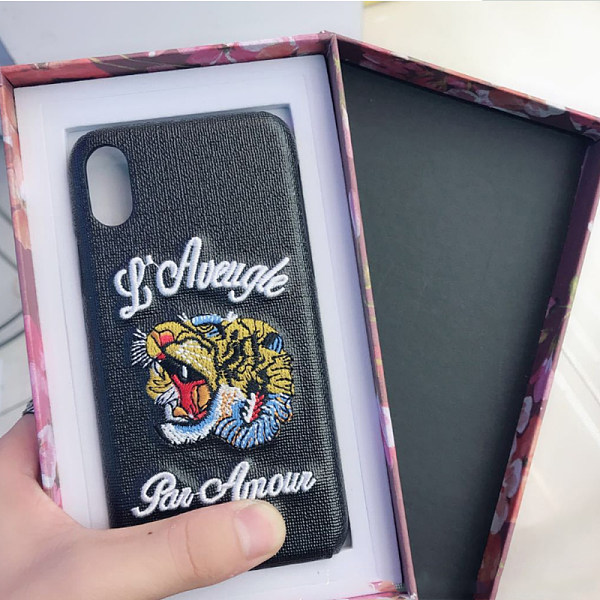 embroidery tiger head phone case classic leather Apple protective shell