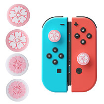Tscope Sakura Flower Thumb Switch Grip Caps 2 pcs Pink& 2pcs White Soft Silicone Cover