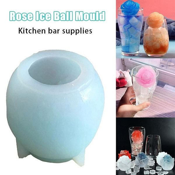 3D Silicone Rose Shape Ice Cubes Mold Mould for Cocktails Drink Iced Tea Coffee