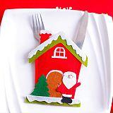 Santa Hat Reindeer Christmas New Year Pocket Fork Knife Cutlery Holder Bag Home Party Table Dinner Decoration Tableware 63012