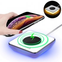 Phone Wireless Charger Pad With LED Night Light,2 in 1 Vibration Sensing Desk Lamp 10W QI Fast Wireless Charging