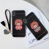 Cute little bear Mickey Minnie iPhone case Anti-fall silicone iPhone 8 7 6 6s Plus X XR Xs Max cover