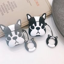 Cartoon gray black dog Airpods case Apple Bluetooth wireless headset cover Airpods1/2