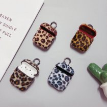 Leopard Print Apple Airpods case Luxury Plush Leather Bluetooth Headphone Protective Cover