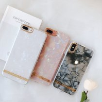 Golden border iPhone case marble texture Transparent silica gel  Apple phone soft shell