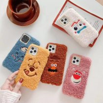 Winnie Bear plush iPhone 11Pro max case cute 3D embroidery Fork potato beard warm hand case
