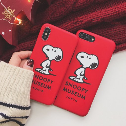 Cartoon Snoopy iPhone Case Matte PC iPhone 7 8 plus X XR XsMax Hard PC Protective Case