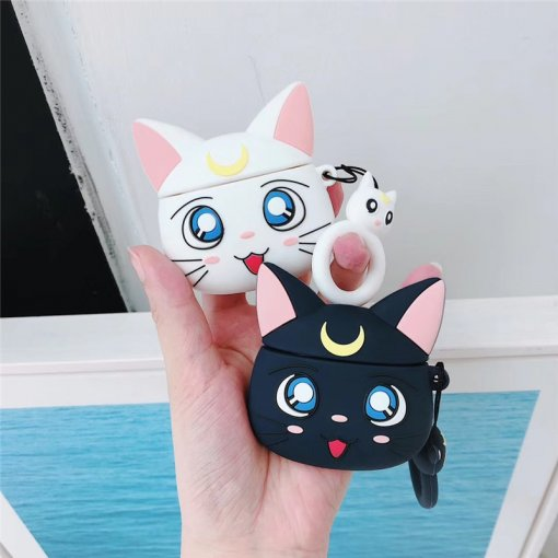 Sailor Moon AirPods Cases Luna Cat Bluetooth Wireless Headphones Charger Box Cover