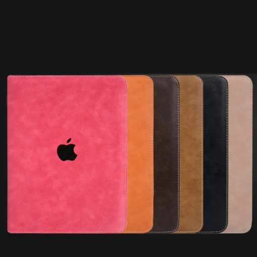 Pure color leather Apple ipad pro protective jacket common dormancy tablet case