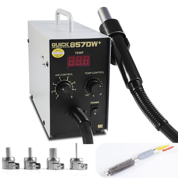 Quick 857DW 220V 580W Digital Display Straight Wind Hot Air Gun soldering station, AU Plug and Self-adjusting wind speed