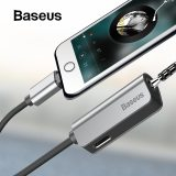 Baseus Audio Cable for iPhone 8 7 Cable Splitter for iPhone to 3.5mm Jack Adapter for iPhone Aux Cable iOS 11