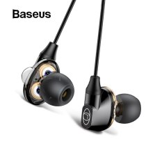 Baseus H10 Dual-action Coil Earphone 3.5MM Wired Earphone stereo bass Sound earphones with mic for Xiaomi Huawei mobile phone