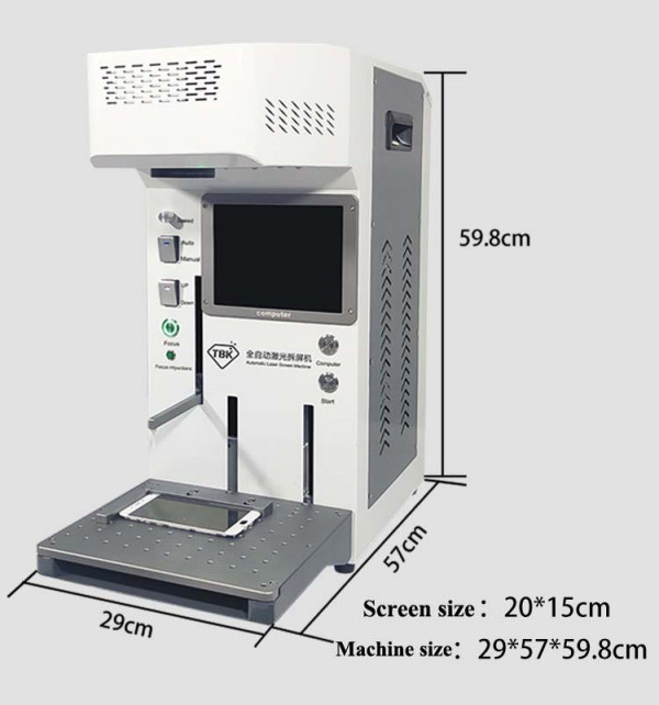 TBK LCD Laser Repair Machine  Built-in Computer Laser Engraving Machine For iPhone 8 8P X XS XS Max Back Cover Separating