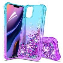 For iPhone 11 Pro Max Case Gradient Floating Quicksand Four Reinforced Corners TPU Bumper Cushion Protective Shockproof Cover