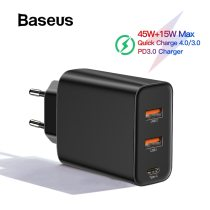 Baseus 3 Ports USB PD Charger 60W For iPhone 11 Pro Xs Max XR Fast Phone Charger Quick Charge 4.0 3.0 FCP SCP For Xiaomi Huawei