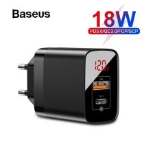 Baseus USB PD Charger for iPhone 11 Pro XR Xs Max 18W Digital Display Fast Charger Quick Charge 3.0 Phone Charger For Xiaomi K20