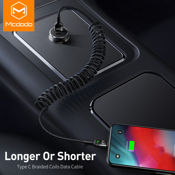 MCDODO 1.8M Spring Extension Fast Charging USB Cable Charger Cord For iPhone XS MAX XR X 8 7 6 Plus USB Data Mobile Phone Cable