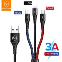 Mcdodo Fast 3in1 USB Cable 3A Mobile Phone For Micro USB C Type C Charger Cable For iPhone XR XS Max X Huawei Data Charging Cord