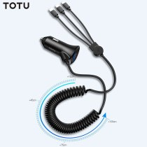 TOTU 3 in 1 Phone USB Charging Cable Mini Dual USB Car Charger For mobile phone