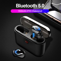 ROCK Bluetooth 5.0 Earphone HBQ TWS Wireless Sport Handsfree Earbuds 3D Stereo Gaming Headset With Mic 1500mAh Charging Box