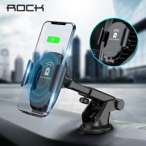 ROCK Infrared Automatic 10W Qi Fast Wireless Car Phone Charger For iphone X 8 XR Huawei Samsung Intelligent Automatic Clamping