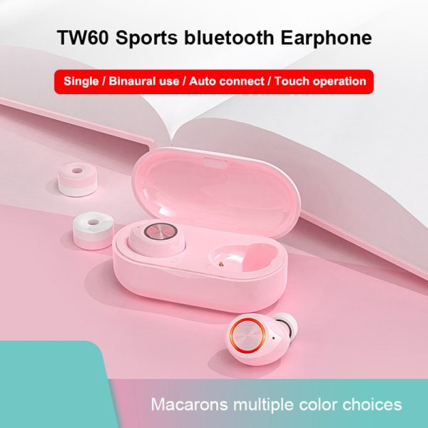 TWS Earphone TW60 Wireless Headphones Bluetooth Earphones Air BT5.0 Touch Headset TWS iPX6 3D stereo Sport Earphone With Micphone