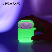 USAMS Earphone Case for AirPods Silicone Earphone Protective Cover Luminous Wireless Bluetooth Earphone Case for Apple Airpods