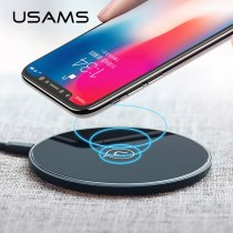 USAMS Qi Wireless Charger for iPhone X/XS Max XR 8 8 Plus 10W 5V2A Glass fast Wireless charging for Samsung S8 S9/S9+ Note 9 8