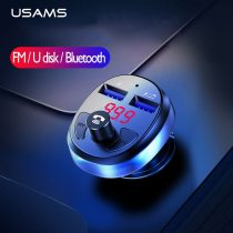 USAMS Car Charger for Mobile Phone Wireless FM Transmitter LED Bluetooth Handsfree Car Kit MP3 Player 3.1A Dual USB Charger Car