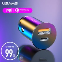 USAMS 5A Metal USB Car Charger QC4.0 Quick Charge For iPhone Xiaomi Samsung Huawei Tablet PD Fast Mobile Phone Charger in Car