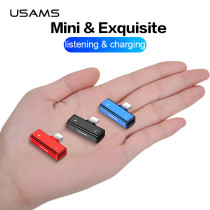 USAMS 4 in 1 Audio charge Dual Lighting Adapter Jack Female for iPhone X xr xs 6 fast charging&listen adapter OTG for iOS 12 11