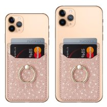 Glitter Back Stands Card Sticker For iPhone 11 Pro XS Max X XR 8 7 Plus Xiaomi Redmi Huawei Phone Card Holder Wallet Finger Ring