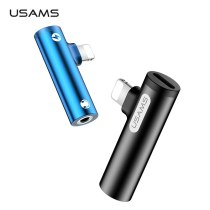 USAMS Mobile Phone Adapter for Lighting to 3.5mm 3 in 1 Fast Charging Audio Adapter OTG Audio & Charge Adapter for iPhone 7 8 X