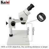 Binocular Industrial  Stereo Microscope 7-45X Continuous Zoom with big size metal stand Includes 0.5X Objective LED Ring Light