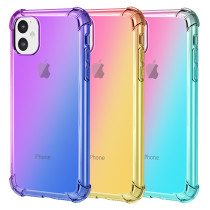 For iPhone 6 6S 7 8 Plus X XS Max 11 Pro Max Case Clear Cute Gradient Slim Anti Scratch TPU Cover Reinforced Corners Shockproof Protective Phone Case