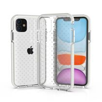 For iPhone 11 Pro MAX Case Transparent Two-color Mobile Phone Shell With Mesh Panel to Prevent Falling