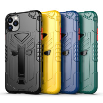 For iPhone 7 8Plus XS XR MAX 11 12 Pro Case Anti-fall Bracket Mobile Phone Case Protection Lens PC + TPU Two in One