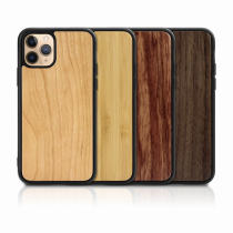 For iPhone 6S 7 8Plus XS XR MAX 11 Pro Case Solid Wood Mobile Phone Xase Anti-fall Two in One
