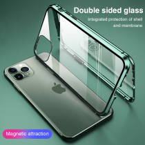 For iPhone 7 8Plus XS XR MAX 11 12 Pro Case Double-sided Glass Magnetic Suction Mobile Phone Case Magneto