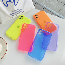 For iPhone 6S 7 8 Plus XS XR MAX 11 Pro Case Fluorescent Silicone Mobile Phone Case Colorful Protection lens Soft