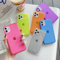 For iPhone 7 8 Plus XS XR MAX 11 12 Pro Case Candy-colored Transparent air Shatter-resistant Mobile Phone Case Silicone Soft