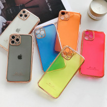 For iPhone 7 8 PLus XS XR MAX 11 Pro Case Electroplated Fluorescent Mobile Phone Case Silicone Soft Anti-fall Protection lens Fine Hole