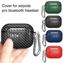 For AirPods Pro Case Carbon Fiber Litchi Grain Shockproof Earphones Protective Cover with Keychain For Air Pods Pro 2019 Case