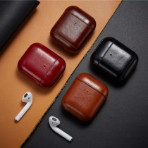 Cases For Apple AirPods Bluetooth Wireless Earphone Leather Cover Bag For Air Pods 1/2 Cover Luxury Charging Box With Hook