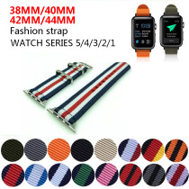 Hot Sell Nato Nylon Watchband for iWatch5 4 3 2 1 for Apple Watch Band 44mm 40mm Watch Strap 38mm 40mm Rainbow Wrist Bracelet