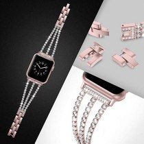 New Women Diamond Watch Band  for Apple Watch 38mm 42mm 40mm 44mm IWatch series 5/4/3/2 Stainless Steel Bracelet metal watchband