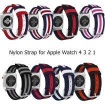 Woven Nylon Strap for Apple Watch Series 5 4 3 2 stripe Color Buckle Watchband 38 42 MM Replacement band for Watch Accessoriess