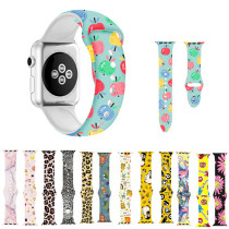 Band for Apple Watch series 5 4 3 2 1 Graffiti painting Silicone strap for iWatch 38mm 42mm 40mm 44mm colorful adapter leopard