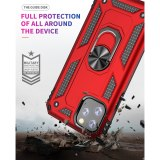 For iPhone 12 Pro Max Case 5.4 6.1 6.7 Shockproof Armor Kickstand Phone CaseFinger Magnetic Ring Holder Anti-Fall Cover