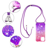 Lanyard Phone Case For iPhone 12 Pro Max Case 5.4 6.1 6.7 Soft Cover Strap Cord Chain Phone Tape Necklace For Carry Mobile Glitter Cover